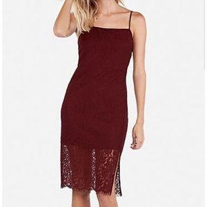 Express burgundy lace spaghetti strap sheath dress